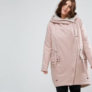 asos curve waterfall parka with fleece lining pink